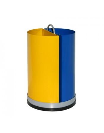 Papelera metálica selectiva de residuos.